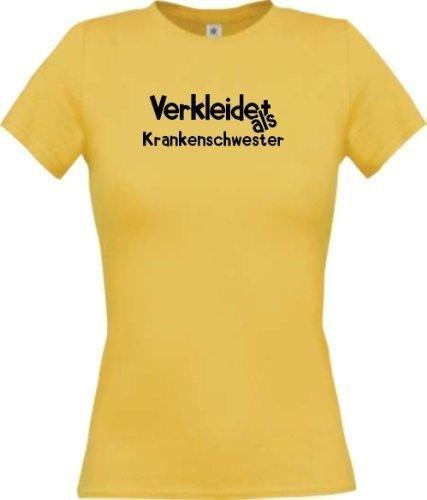 Shirtinstyle Lady-Shirt Verkleidet als Krankenschwester Karneval Fasching Kostüm Verkleidung, Farbe gelb, Größe XL (Krankenschwester T-shirt Gelben)