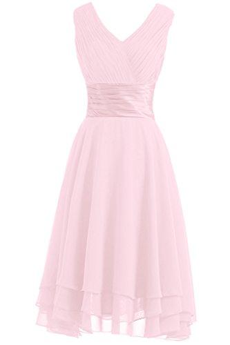 Victory Bridal Robe de soirée/demoiselle d'honneur à plis - Décolleté V simple - Longueur genou - En mousseline Rose