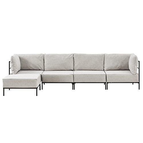 [en.casa]® Sofá 4 plazas beige - modular - decorativo