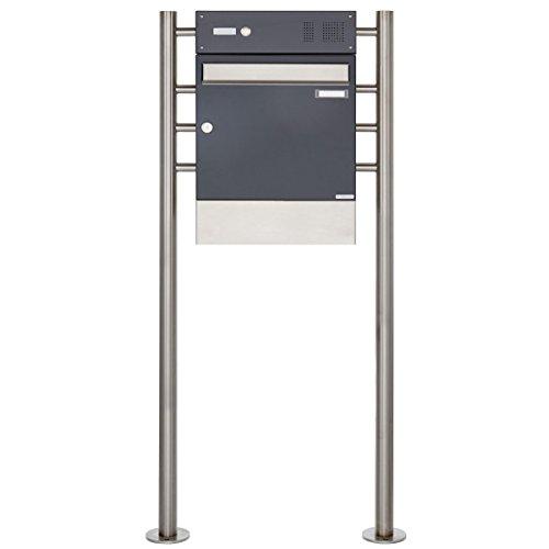 1er Briefkasten, freistehend Design BASIC 381-7016-ZF – Standbriefkasten Edelstahl-Anthrazit-Grau RAL 7016 mit Klingel- Sprechteil & Zeitungsrohr – 150cm Ständer Edelstahl V2A, geschliffen - 2