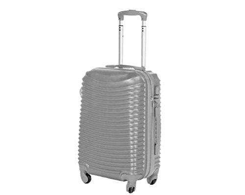 Trolley da cabina 50 cm valigia rigida 4 ruote 360° gradi in abs policarbonato antigraffio misura 50X36X20 art. 2030 (Argento)