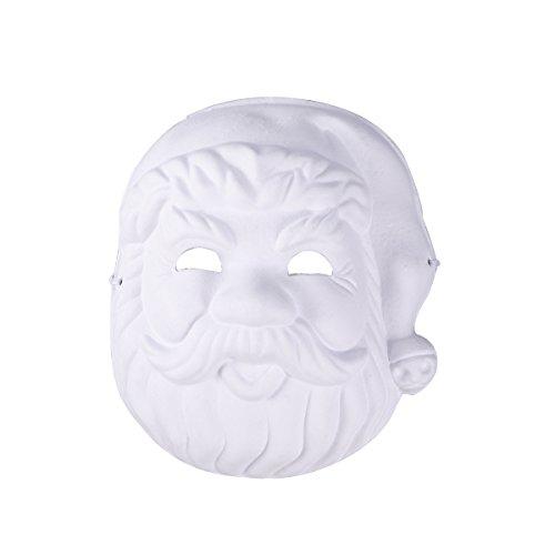 Leere Maske Kostüm Weiße - LUOEM Weihnachten malerei Maske vollgesichts kostüm zellstoff Leere weiße Maske für DIY Farbe 6 stücke (Santa)