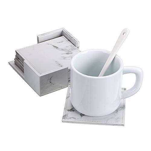 BTSKY Set von 6 Getränke-Leder-Untersetzer mit Halter - Tassenuntersetzer Platzset für Tasse Becher Glas Wein Bier Kaffee Tischschutz (quadratisches Marmor) -