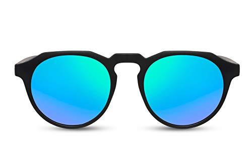 Cheapass Sunglasses Sonnenbrillen Beliebt Matt Schwarz Runder Stil mit flachem Oberrand und grün verspiegelten Gläsern Männer Frauen
