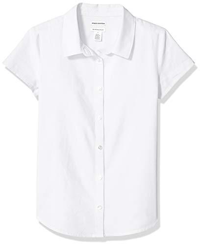 Amazon Essentials Uniform Oxford-Bluse für Mädchen, Kurzarm, White, US XL (EU 146 -152 CM, P)