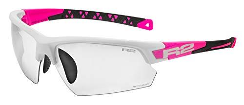 R&R Multi-Sportbrille Evo | Sonnenbrille | Radbrille | Laufbrille mit Wechselgläser (weiß/pink, selbsttönend)