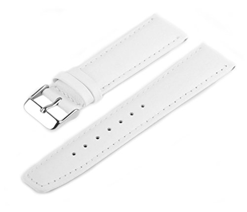 MARCHEL Lederarmband 14 mm WB70 Weiß Genarbt für Armbanduhren Uhrenarmband