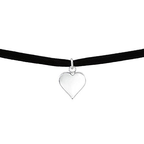 Laimons Damen Choker-Halskette Herz gravierbar glanz Schwarz Samt Sterling Silber 925