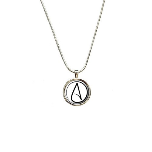 Atheism Atheist Symbol Pendant with Sterling Silver Plated Chain by Graphics and More