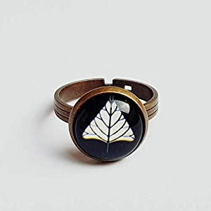 Ring Blatt Glasring Cabochon Bronze