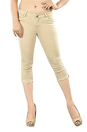 Obeo Women's Slim Fit Stretchable Denim Capri-40
