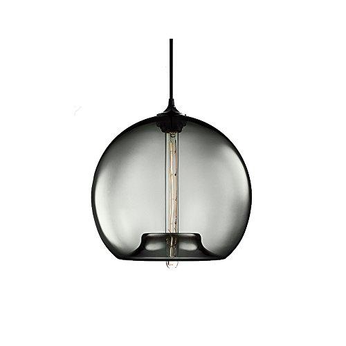 Glas Pendelleuchte, 1 Licht LED Kronleuchter LOFT BAR Wohnzimmer Hängeleuchte Creative Kitchen Island Fixture-Grau -