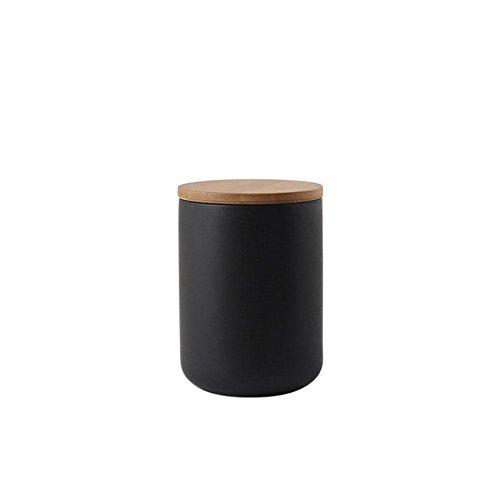 Vorratsdosen mit Deckel der Keramik Vorratsdosen für Flasche Kaffee/Tee/Caddy/Food Aufbewahrung 260ml 800ml 1000ml, Schwarz, Medium