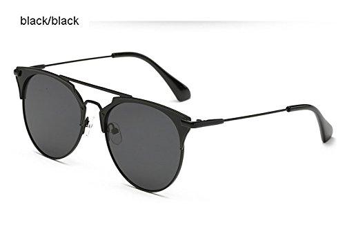 Aprigy Spiegel Rose Gold Katzenaugen-Sonnenbrille Frauen-Runde Luxuxmarken Weibliche Sonnenbrillen Frauen [Schwarz Schwarz]