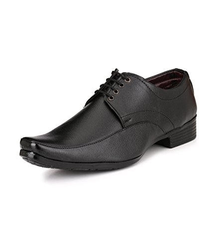 Knoos Men's Black Synthetic Leather Classy Lace-Up Formal Shoes (R1-707, Size: 10 UK/IND)