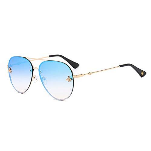 Siwen New Pilot Sonnenbrille Für Frauen Sonnenbrille Little Bee Dekoration Eyewear Rosa Gradient Linsen Uv400,Blauer Spiegel