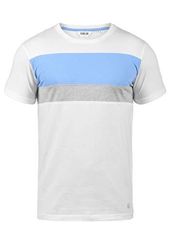 !Solid Sascha Herren T-Shirt Kurzarm Shirt Mit Streifen Und Rundhalsausschnitt, Größe:S, Farbe:White (0001) - Colorblock Golf