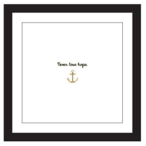Kare Design Bild Frame Anchor, 33x33cm quadratisches Bild mit schwarzem Bilderrahmen, schwarz und weiß, Bild mit Bilderrahmen und Schriftzug, Bilderwand, Wandbilder mit Sprüchen, (H/B/T) 32,5x32,5x2cm