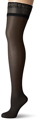 GLAMORY Damen Halterlose Stütz-Strümpfe Vital 40 DEN, Schwarz (Schwarz), Large (Herstellergröße: L-(44-46))