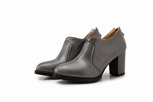 Mee Shoes Damen modern elegant runder toe Geschlossen Reißverschluss Spitze Ankle-Stiefel Grau