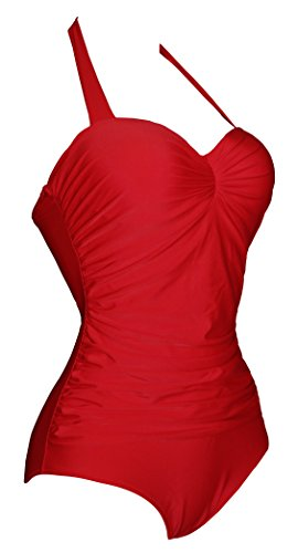 Angerella Vintage 50s Pin Up backless Maillots de bain Maillot une pièce Rouge