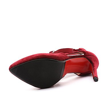 LYNXL delle donne Tacchi Primavera Estate Club scarpe cinturino alla caviglia in similpelle festa di nozze e abito da sera Stiletto Lace-up Heel Nero Rosso Red