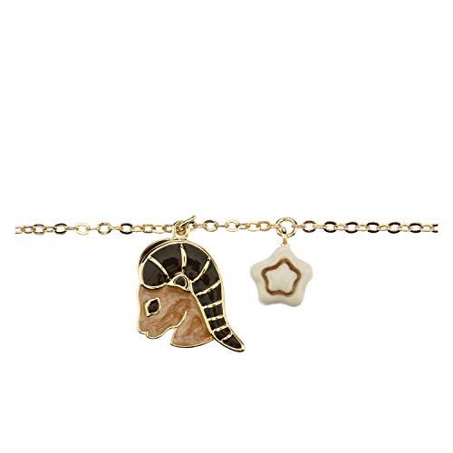 THUN  - Bracciale Segno zodiacale Capricorno - placcato in Oro con Ciondolo in Ceramica -16 cm (+2 cm)