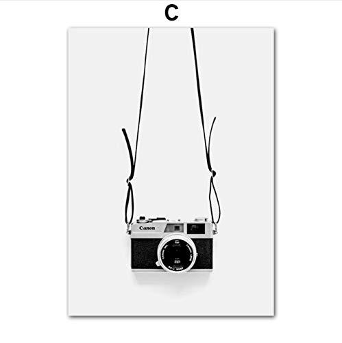zxkx Coches clásicos Puente Cámara Arte de la Pared Pintura en Lienzo Carteles y Estampados nórdicos Pared de Fotos en Blanco y Negro para Sala de Estar decoración 60x80 cm