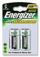 ENERGIZER 626148 Rechargeable Battery, Pack of 2, Nickel Metal Hydride, 2500 mAh, 1.2 V, C