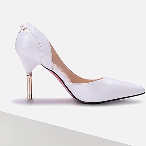 Damen Pumps Spitz Zehen Hohl Atmungsaktiv High-Heels Elegant Bequem Slip on mit Perle Dekoriert OL Süß Freizeit Büro Modisch Stiletto Weiß