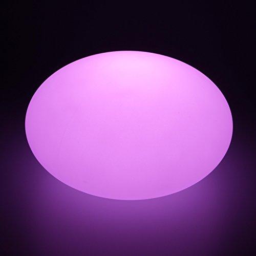 Exklusives LED Flachkugel Desingnerlampe Leuchtkugel, 27 x 16 cm multicolor RGB mit Farbwechsel und Fernbedienung aufladbar wasserfest Innen Außen IP65 Flatball Kugelleuchte Tischlampe Deko