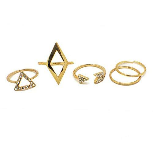 ex-Geometrisches Gelenk, modisch, 5 Stück/Set, hervorragendes Diamant-Dreieck, Gelenk-Set, Ring für Damen und Mädchen, kein Ring-Set ()