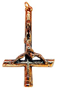 INVERTED CROSS 24SX2519 Petrus-Kreuz, 30 x 51 mm, 24 Karat vergoldet, beidseitiges Design