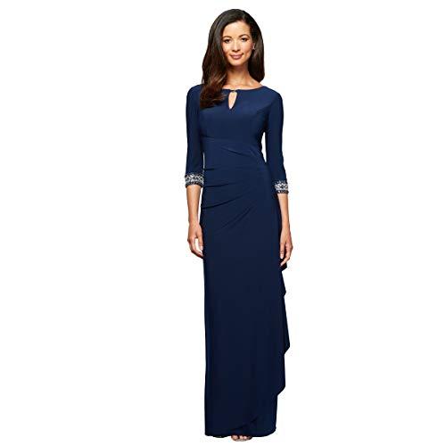 Alex Evenings Damen Dress with Keyhole Cutout (Petite and Regular) Kleid für die Brautmutter, Cobalt, 40 Zierlich Petite Matte Jersey