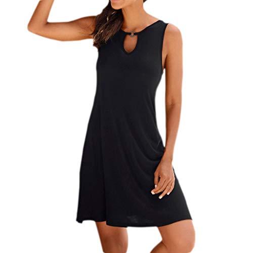 Halfter Krawatte Hals Mini Kleid (RatityX Sommer-Frauen Sleeveless beiläufige Normallack-Partei-lose Knie-Längen-Kleid-Schwarz-Farbe)