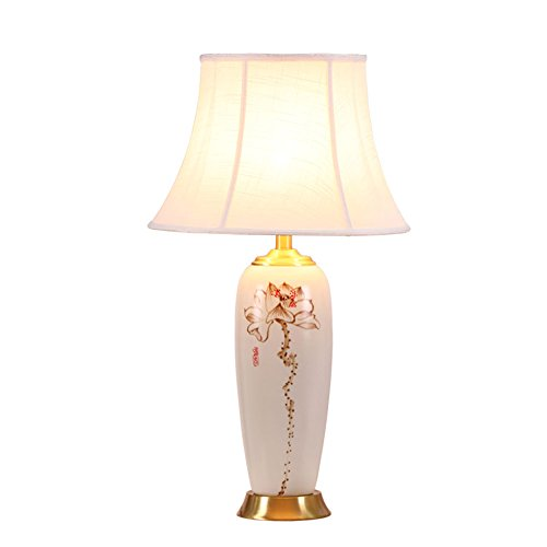 Retro Keramik Tischlampe, Creative Haushalt Schlafzimmer Nachttischlampe Studie Tischlampe Lotus Dekoration Tischlampe Fotografie Shop Tischlampe Einzelner Kopf E27, 69 * 40CM Power Switch-Taste -