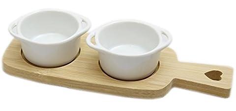 Twin Keramik Dip Gerichte auf Bambus Holz Herz Tablett mit Griff–Rund