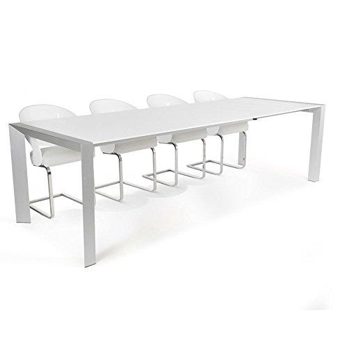 Alterego - Table à dîner / de réunion extensible 'TITAN' design blanche avec allonges