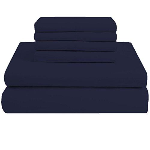 scalabedding 50,8cm Tief Pocket 100% ägyptische Baumwolle 6Stück Fadenzahl 300California King Size massiv-Bettlaken-Set Navy Blau