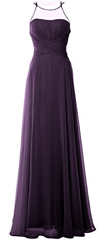 MACloth Elegant Halter Long Bridesmaid Dress Chiffom Simple Prom Formal Gown Prune