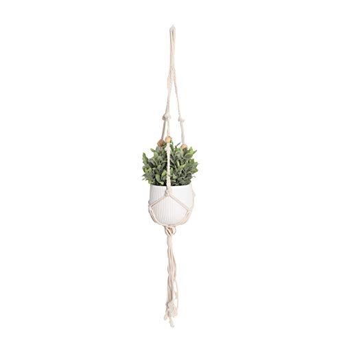 Mr.do® Makramee Blumenampel Wand Blumentöpfe zum Aufhängen Pflanzenhalter Baumwolle Aufhänge Seil mit Holzperlen, Skandinavisches Design