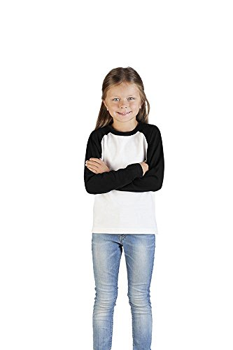 Promodoro Raglan Baseball Langarmshirt Kinder, 116, Weiß-Schwarz