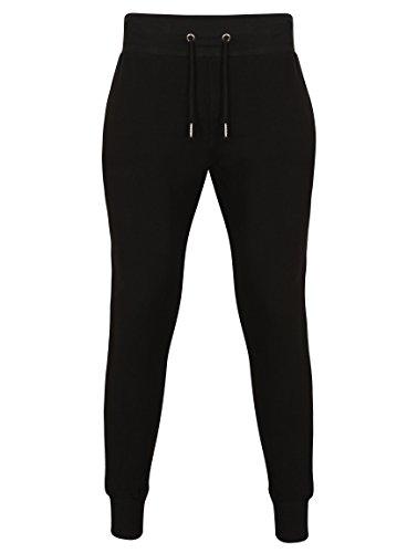 Fabrica Fashion Designer-Trainingsanzug, eng anliegendes Stretch-Oberteil und Hose mit Taschen und Reißverschluss Schwarz