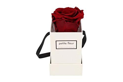 Petite Fleur Infinity Rosen Flowerbox XS weiß - quadratisch 6 x 6 x 15 cm - langanhaltende farbenprächtige dunkelrote Blüte - 1 konservierte Rose