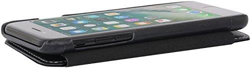 StilGut Book Type Case, Hülle Leder-Tasche für Apple iPhone 8. Seitlich klappbares Flip-Case aus Echtleder für das Apple iPhone 8, Schwarz mit Clip Schwarz Nappa