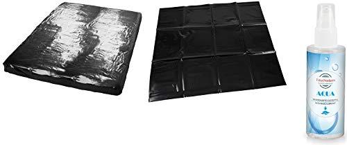 Wetgames Lackspannbettlaken Latex Laken Set Spannbettlaken Bettlaken Größe 1,60 x 2,00 Meter Lack-Spannbettlaken mit Kissenbezug 80x80 cm & 100 ml. Gleitgel schwarz für Massage Öl Erotik Sex Untelage