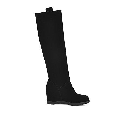 VogueZone009 Damen Eingelegt Hoher Absatz Ziehen auf Stiefel mit Anhänger, Schwarz, 40