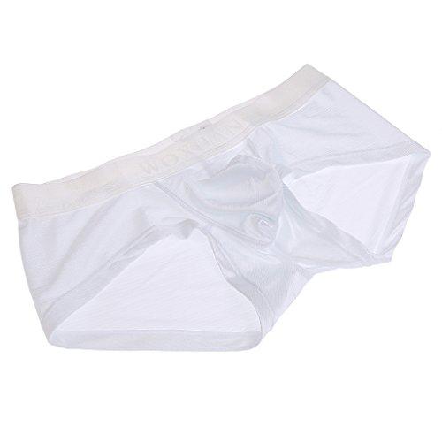 MagiDeal Biancheria Intima Perizomi String Tanga Morbida Boxer Mutande Pantaloncini per Uomo bianca