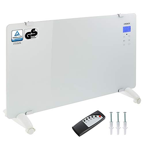 Arebos Glaskonvektor weiß / 2000 Watt / 83 x 47 cm / 24h Timer/Touchpad/Fernbedienung/Thermostat/Wandmontage oder zum Stellen/GS geprüft von TÜV Rheinland