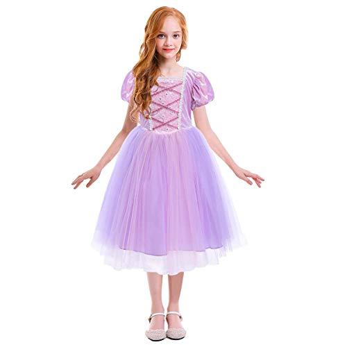 IMEKIS Mädchen Rapunzel Kleid Prinzessin Märchen Kostüm Cosplay Verkleiden Blumenstickerei Spitze Tüll Partykleid Festlich Hochzeit Abendkleid mit Stirnband Geburtstag Festzug Outfit Lila 3-4 Jahre